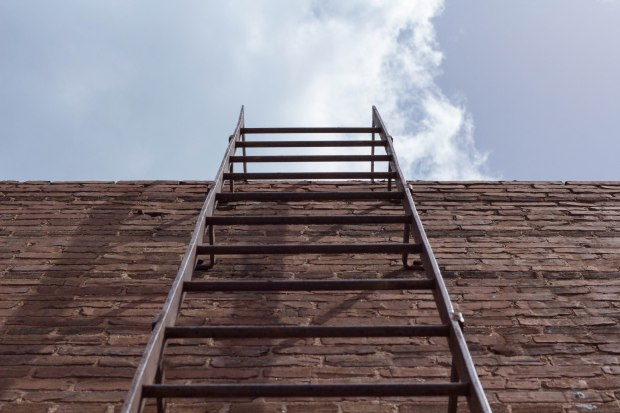A ladder on the exterior of one of downtown Monroe's historic businesses.
